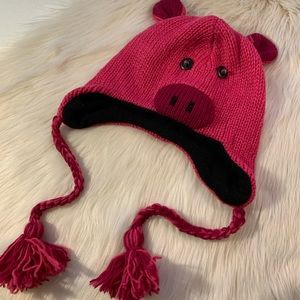 NWOT Knitted Pink Pig beanie